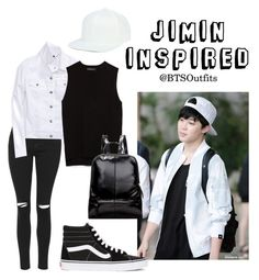 """""""Jimin Inspired Outfit"""" by btsoutfits ❤ liked on Polyvore featuring Topshop, Tommy Hilfiger, Zara and Vans"""