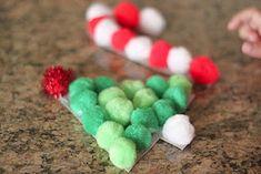 Christmas pom-pom crafts - really great for fine motor