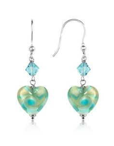 Vortice - Turquoise Swirling Murano Glass Heart Earrings by House Of Murano