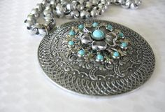 Vintage Aluminum Medallion  with Flower Turquoise by tubbytabby, $39.00