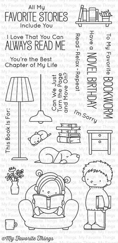 "MFT STAMPS: Our Story (4"" x 8.5"" Clear Photopolymer Stamp Set) This package includes Our Story, a 20 piece set including: - Girl in chair 2"" x 2"" - Boy with book 1"" x 2 5/16"" - Lamp 15/16"" x 2 13/16"""
