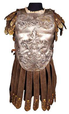 "Duncan Lamont ""Marius"" interlocking torso armor of hand-hammered metal and black suede from Ben-Hur"