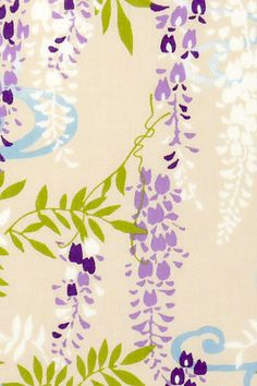 Japanese Tenugui Towel Cotton Fabric, Wisteria Flower, Floral, Botanical, Running Water, Wall Art Hanging, Home Decor, Scarf, Wrapping, JapanLovelyCrafts