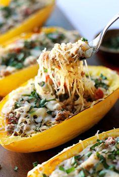 32. Spaghetti Squash Boats with Spicy Sausage #comfortfood #squash…
