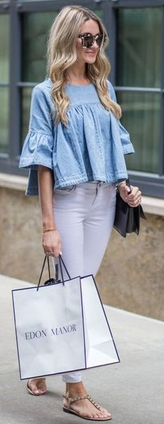 Chambray off The Shoulder Top + White Denim                                                                             Source