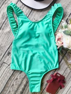 SHARE & Get it FREE | Open Back Ruffle Strap One Piece Swimsuit - GreenFor Fashion Lovers only:80,000+ Items • New Arrivals Daily Join Zaful: Get YOUR $50 NOW!