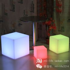 LED square stool,  children gifts stool, height is 20/30/40/50/60 cm. The colorful LED light source energy saving. Can remote control monochromatic light, also can remote control seven colors flashing light, brightness can also remote control. PE plastic raw materials using imported environmental protection, milky white, frosted surface appearance.