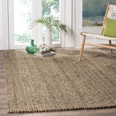 Shop for Safavieh Casual Natural Fiber Hand-Woven Natural / Grey Chunky Thick Jute Rug (8' x 10'). Get free shipping at Overstock.com - Your Online Home Decor Outlet Store! Get 5% in rewards with Club O!
