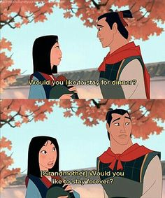 Memes… OMG yes! One of my favorite parts in Mulan.probably one of the best lines the whole movieOMG yes! One of my favorite parts in Mulan.probably one of the best lines the whole movie Disney Memes, Humour Disney, Disney Quotes, Funny Disney, Mulan Quotes, Disney Funny Moments, Disney Love, Disney Magic, Disney Jasmine