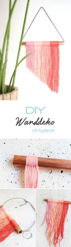 Diese tolle DIY Dekoidee lässt sich ganz leicht mit einem Kupferrohr und Garn selbstmachen. Egal wo in der Wohnung, ob im Wohnzimmer oder im Jugendzimmer, so kommt Farbe an die Wand. Entdeckt bei gingeredthings.de