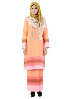 The Fablous from Hijrah Couture in Orange - High quality cotton- Perfect tailor made- Cutting Kurung Pahang ... #bajukurung #bajukurungmoden