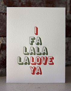Sapling Press: Falalala Love Ya. Holiday Letterpress Card.