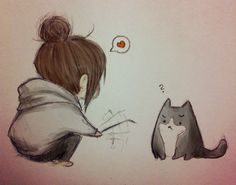 Girl and gray cat - I had to pin this because it looks a bit too much like my cat and me..