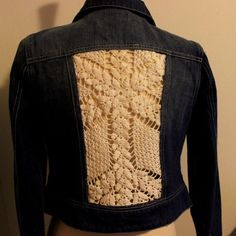 $30 Upcycled Jean Jacket with Crochet Lace Inserts by theeKissOfLife