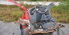 Homem morre em colisão entre carro e caminhão na BA-262; carro ficou irreconhecível