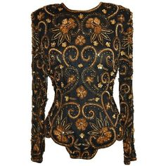 Preowned Lawrence Kazar Black Beaded Evening Top With Scallop Hem found on Polyvore featuring tops, bodysuits, black, beaded evening tops, sequin top, sequin holiday tops, special occasion tops and evening tops