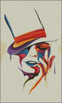 Girl with Hat Abstract Pop Art Cross Stitch by KajuPatterns