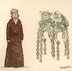 "Michael Caine's Scrooge and Waldorf and Statler's Marley Bros. - from Scott Campbell's awesome ""Great Showdowns"" series"