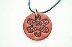 Puerto Rico Taino Indian Sun Leather Necklace by TheFlamboyanTree, $12.75