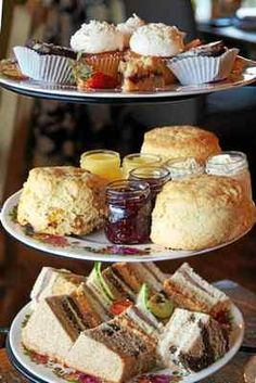 Photo by Emily Ryan A Taste of Britain serves full afternoon tea with mini pastries, scones and tea sandwiches. English High Tea, English Afternoon Tea, English Tea Time, Downton Abbey, Cream Tea, Afternoon Tea Parties, Christmas Tea, Tea Cakes, Brunch