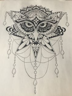 Owl, pen art, black and white, mandala style, tattoo or ink