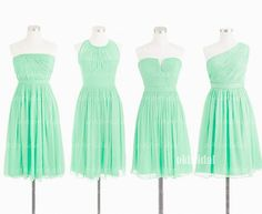 mint bridesmaid dresses cheap bridesmaid dress short by okbridal, $106.00---bridesmaids choose from the 2 on the right