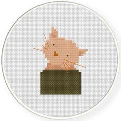 Animals & Creatures – Page 6 Cross Stitch Kitchen, Simple Cross Stitch, Modern Cross Stitch, Cross Stitch Designs, Cross Stitch Patterns, Cross Stitch Embroidery, Embroidery Patterns, Needlework, Free Cat