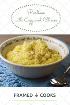 This simple recipe for pastina with egg and cheese, otherwise known as comfort food, will make everything feel a little better! Pastina Recipes, Soup Recipes, Dinner Recipes, Pastina Soup, Dinner Entrees, Brunch Recipes, Italian Dishes, Italian Recipes, Italian Cooking