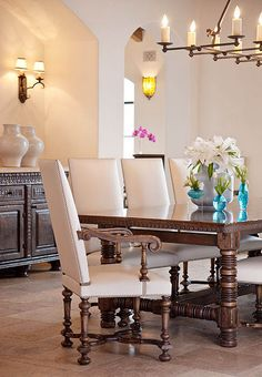 beautiful subtle spanish dining room by Cabana Home