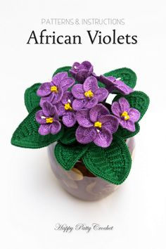 Crochet Flower pattern for African Violets by Happy Patty Crochet