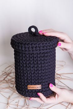 Large storage basket is a perfect toilet paper holder for 2 spares rolls toilet paper 👍 Crochet Motifs, Knit Crochet, Crochet Patterns, Yarn Projects, Crochet Projects, Black Toilet Paper Holder, Black Basket, Crochet Storage, Kawaii Crochet