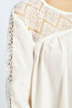 Abbi Lace Panel Long Sleeve Swing Blouse