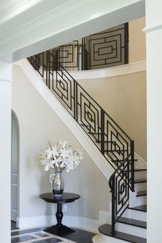Custom Iron Staircase & Railing Idea Photo Gallery | Ironwood Connection | Stair & Railing Company Indoor Stair Railing, Modern Stair Railing, Wrought Iron Stair Railing, Staircase Railings, Modern Stairs, Staircase Design, Stair Case Railing Ideas, Railings For Steps, Steel Railing Design