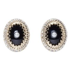 Givenchy Gold and Pearl Magnet Earrings ($555) ❤ liked on Polyvore featuring jewelry, earrings, accessories, yellow gold stud earrings, magnetic stud earrings, black earrings, magnetic earrings and white pearl stud earrings