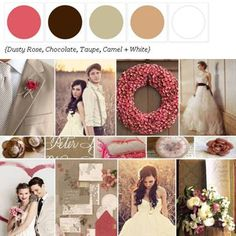 Dusty Rose, Chocolate, Taupe, Camel + White via The Perfect Palette Library! xo