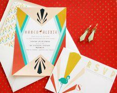 Oh So Beautiful Paper: Alexia + Marco's Colorful Miami Art Deco Wedding Invitations- via eikenstamtafel.be: verhuur exclusieve eikenhouten feesttafels, banken en stoelen
