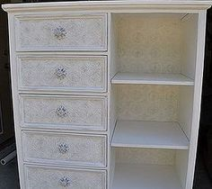How to Use Textured Wallpaper on Furniture  Add a little elegance to old beat up furniture.