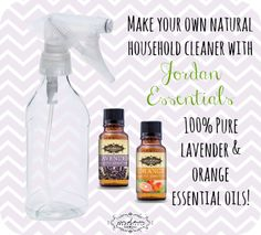 Clean with safe, natural products using JE 100% Pure Essential Oils! Mix 1 cup water and 1/4 cup white vinegar (naturally antibacterical!) in an empty spray bottle with 10-20 drops of Jordan Essentials Lavender essential oil (natural antiseptic properties) and 10-20 drops of Jordan Essentials Orange essential oil for a wonderful citrus fragrance!