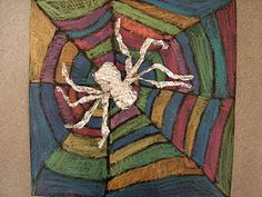 Foil spiders on black construction paper with chalk/pastel colored web Halloween Art Projects, Fall Art Projects, School Art Projects, Halloween Ideas, Spider Art, Spider Webs, 2nd Grade Art, Grade 1, Art Sculpture