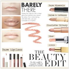 Bare Lips For Fall by marion-fashionista-diva-miller on Polyvore featuring beauty, Christian Dior, Bare Escentuals, Charlotte Tilbury, Dolce&Gabbana, AERIN, Ilia, LORAC, NARS Cosmetics and LIPSTICK