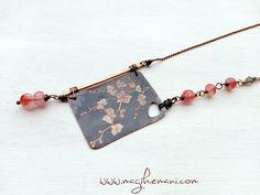 necklace-copper-cherry quartz- orchid-engraver