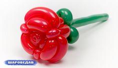 Роза треугольная из шаров. Rose of balloons.