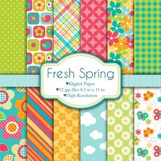 Fresh Spring Papers is a set of digital paper that includes 12 different brightly colored designs. You will get 12 jpg files in 300 dpi resolution, watermark-free. Papel Scrapbook, Digital Scrapbook Paper, Digital Papers, Decoupage, Desenhos Love, Printable Paper, Copics, Project Yourself, Paper Background