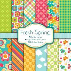 Fresca Primavera  Set de papeles digitales por pixelpaperprints