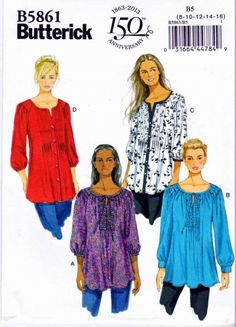 Butterick Sewing Pattern 5861 Misses'/Women's tunic. Butterick Anniversary Description: Very loose-fitting tunic has bias neck binding, front Tunic Sewing Patterns, Plus Size Sewing Patterns, Tunic Pattern, Vintage Sewing Patterns, Clothing Patterns, Sewing Ideas, Sewing Projects, Sewing Tips, Sewing Hacks