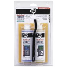 DAP Kwik Seal Grout Recolor Kit, White or Almond, cleans and restores grout...