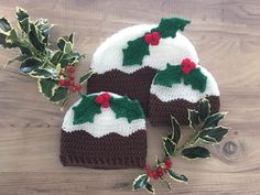 Christmas crochet hats for the whole family! FREE Toddler Hat Pattern