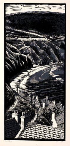 """Bryan Angus (Scottish Artist) Lino Prints: """"Gamrie Bay"""", 2013. bryangusart.com:"""