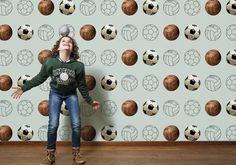 Behang voetbal groen Kidsroom, Boy Room, Runes, Kids Bedroom, Retro, Boys, Colour, Home Decor, Bedroom Kids