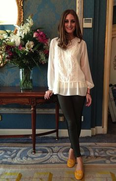 Olivia Palermo in  Zara top with jeans by Hudson & personalized shoes from SchoShoes Milano.